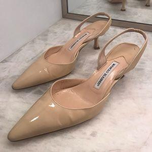 Manolo Blahnik Shoes - Manolo Blahnik nude patent leather sling back